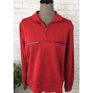 Tommy Hilfiger Red 3/4 Zip Pullover Sweatshirt